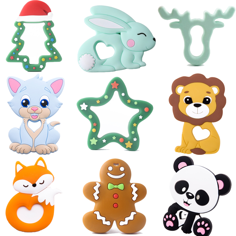 1pc Baby Teether Silicone Animal Pacifier Chain Pendant Food Grade Perle Silicone Bead Rodent Children'S Goods Toy Tiny Rod Lion