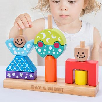 цена на Kids Stacking Toys Wooden Cartoon Day Night Pillar Blocks DIY Building Early Learning Baby Educational Toy