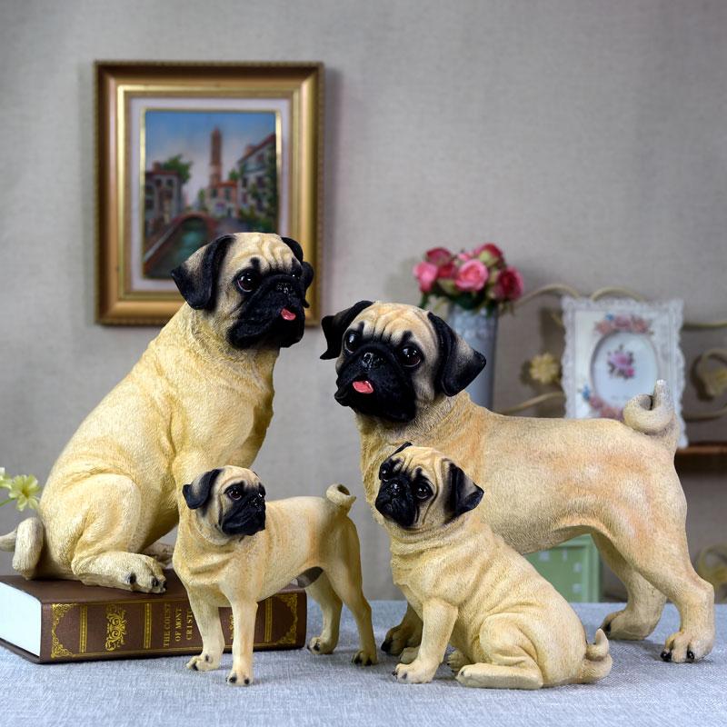 Simulated Dog Furnishings Resin Pet Pug Dog Model Living Room TV Cabinet Household Decoration Handicraft