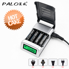 PALO C905 LCD Display With 4 Slots Smart Intelligent Battery Charger For AA / AAA NiCd NiMh Rechargeable Batteries fast charging