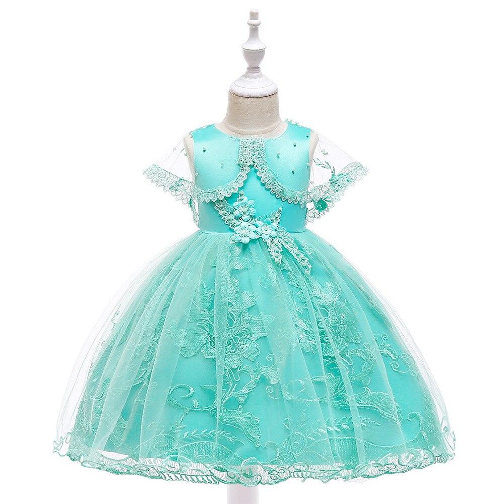 Big Boy Dress Girls Veils Formal Dress Beads Flower Stickers Princess Dress Lace Puffy Wedding Dress Children Shirt