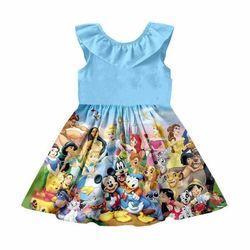 Новая модель платья для девочек, модное летнее платье принцессы с рисунком льва, мышки и медведя