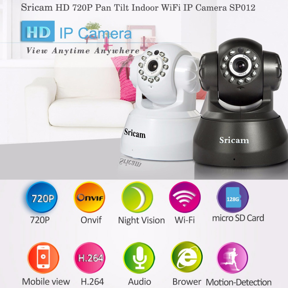 Sricam SP012 720P Wireless IP Camera Mini Camera ONVIF Home Security Camera Wifi Pan/Tilt Surveillance P2P Baby Monitor 1.0 MP