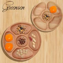 Китайский стиль, натуральная деревянная круглая форма, разделенная тарелка для еды, десерт, закуска, кухонный салон, орех, закуска, конфеты, организованный поднос для хранения