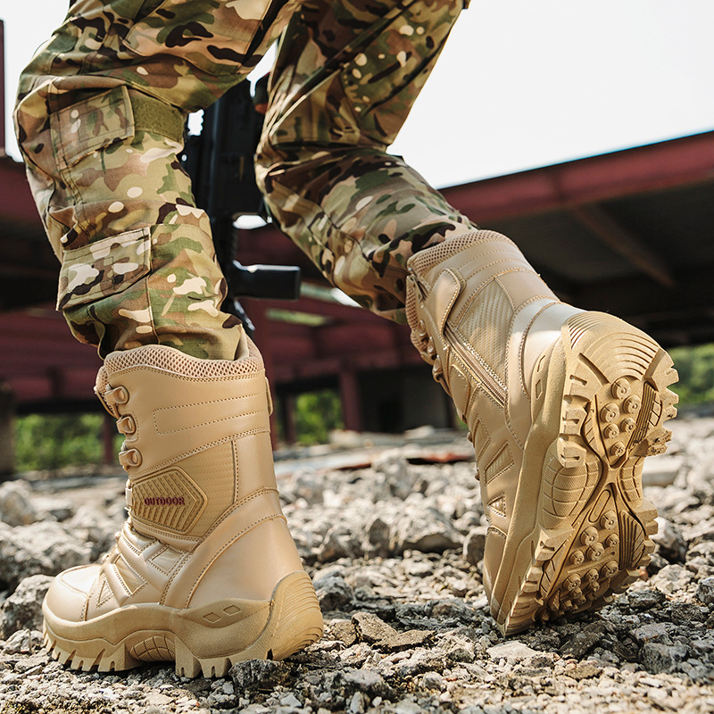 2019 Outdoor Thigh Boot Fashion Leather Comfortable Anti-slip Wear-Resistant Shock Absorption Combat Mountain Climbing Tactical