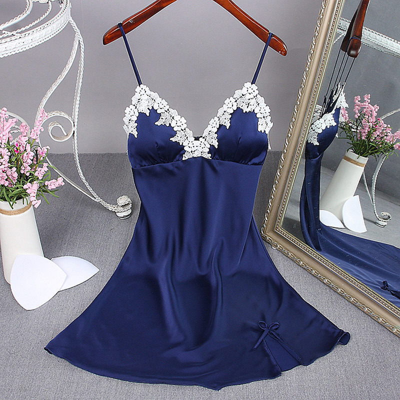 Women Sexy V-neck Beach Dress Lingerie Night Dress Sleeveless Ladies Satin Nightgown Plus Size Lace Sleepwear Cover Dresses