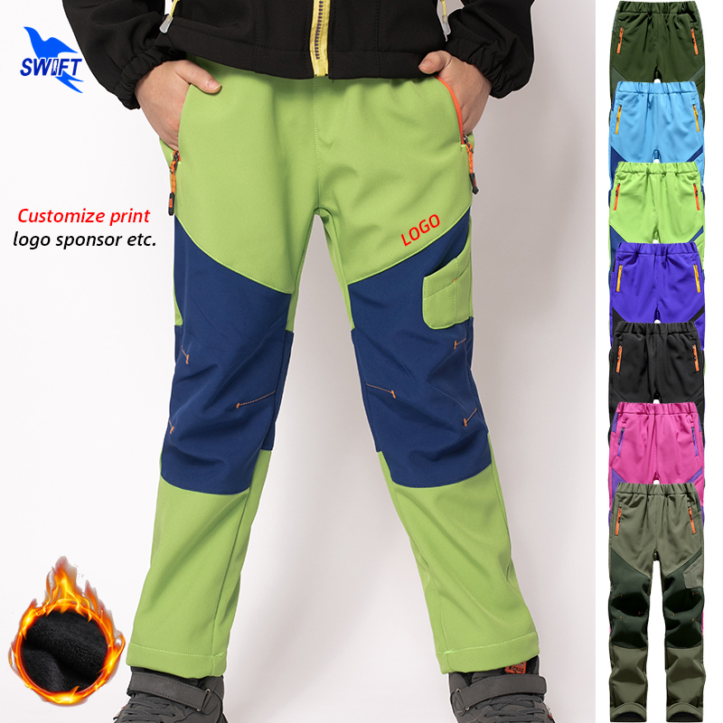 Boy Girls Winter Ski Pants Softshell Fleece Trousers Kids Cycling Camping Skiing