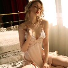 Summer Sexy Straps Nightdress Womens Sleepwear Deep V Backless Lace Gauze Temptation U Back Nightgown Silk Sleepshirts Pink