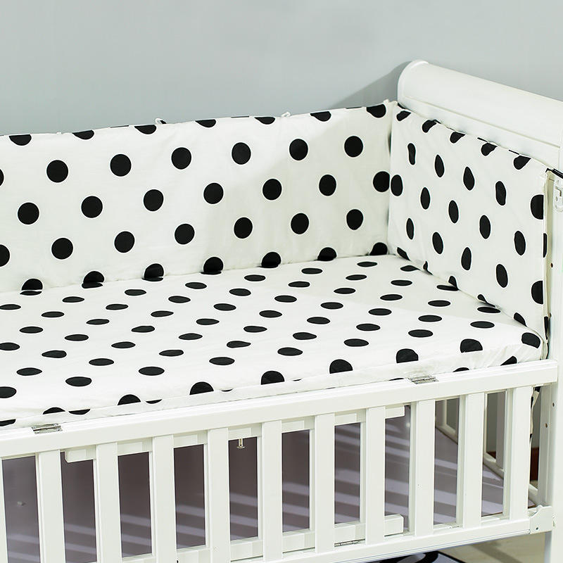 180x30cm Baby Bed Crib Bumper U-Shaped Detachable Zipper Cotton Newborn Bumpers Infant Safe Fence Line Bebe Cot