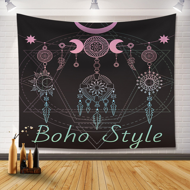 Noir Boho décor tapisserie sorcellerie Ouija tapis mur tapisserie mystérieuse Mandala tapisserie tenture murale Yoga tapis plage couverture