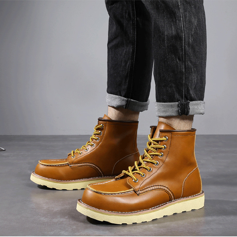 Men Spring Winter Casual Shoes Round Toe Genuine Leather Work Ankle Boots Vintage Military Motorcycle Boots Snow Warm Big Size