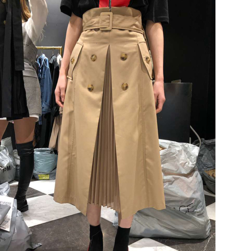 Dropshipping Skirt Cotton High Waist Irregular Skirts All Match Long Black Fashionable Ladies Summer Skirts 2019 Khaki B380