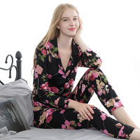 New Women Vintage 100% Real Mulberry Silk Pajamas Sleepwear Suit Home Clothing SI0015