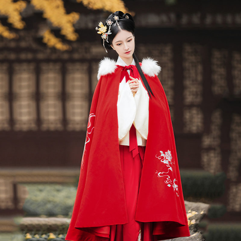 Women Hanfu Phoenix Embroidery Cloak Autumn And Winter Hooded Overcoat Festival Rave Outfit Singer Performance Clothing DC4071