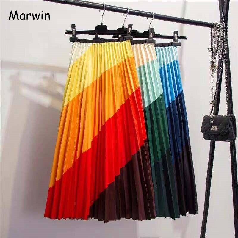 Marwin 2019 nouvelle-venue printemps arc-en-ciel décoloration soie surface rétro femmes jupes haute rue Style a-ligne rayé jupes
