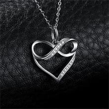 Infinity Love Heart Sterling Silver Pendant Necklace Jewelry