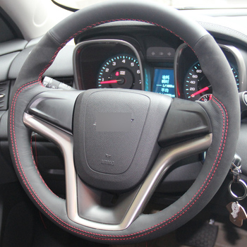 Black Genuine Leather Suede Hand-stitched Car Steering Wheel Cover for Chevrolet Malibu 2011-2014