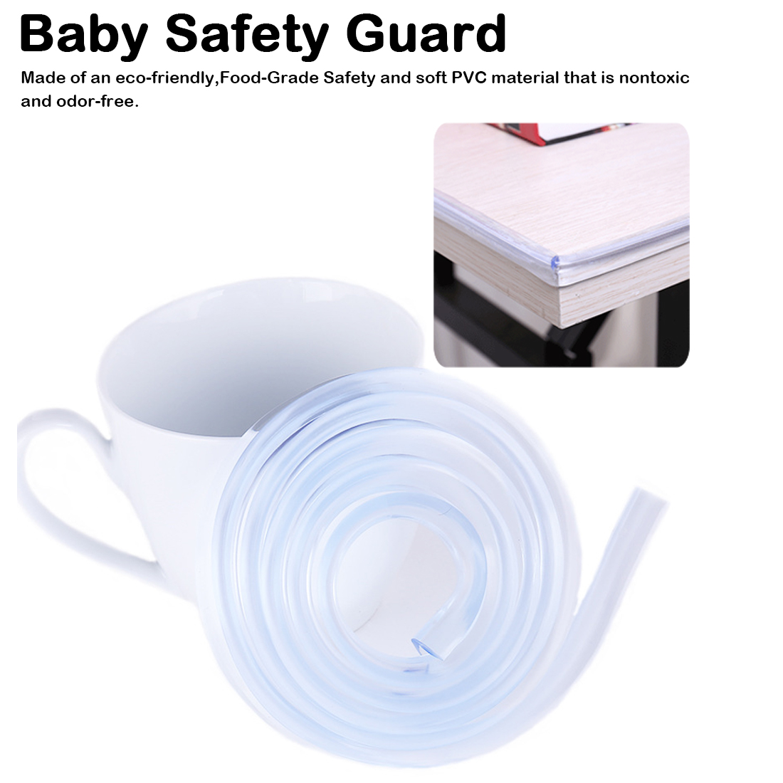 1m Baby Kids Protector Table Furniture Corner Edge Silicone Cover Bumper Strip Baby Collision Proof Edge Guards Softener Bumper