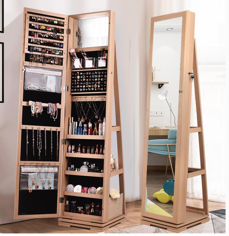 Rotary Full Body Mirror Cloakroom Floor Mirror Modern Simple Fitting Mirror Jewelry Storage Cabinet Wearing Mirror