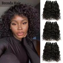 Кудрявые Волнистые пучки волос 6 шт./лот 190 г/лот бразильские человеческие пучки волос натуральные черные человеческие волосы для наращиван...