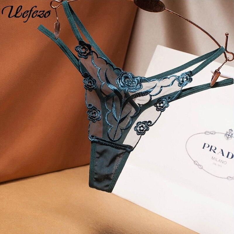 Uefezo Sexy bordado malla hilo señoras Tanga perspectiva transparente Mujer tentación ropa interior moda caliente T pantalones G-String