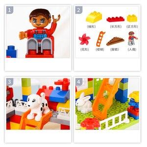 Image 5 - DIY Colorful City House Roof Big Particle Castle Building Blocks Compatible Duploe Creative Bricks Toys For Children Kids Gifts