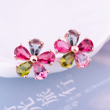 High Quality Women Colorful Crystal Stud Earring Flower AAA Cubic Zirconia Earrings Ear Jewelry for Women Wedding Party Gift(China)
