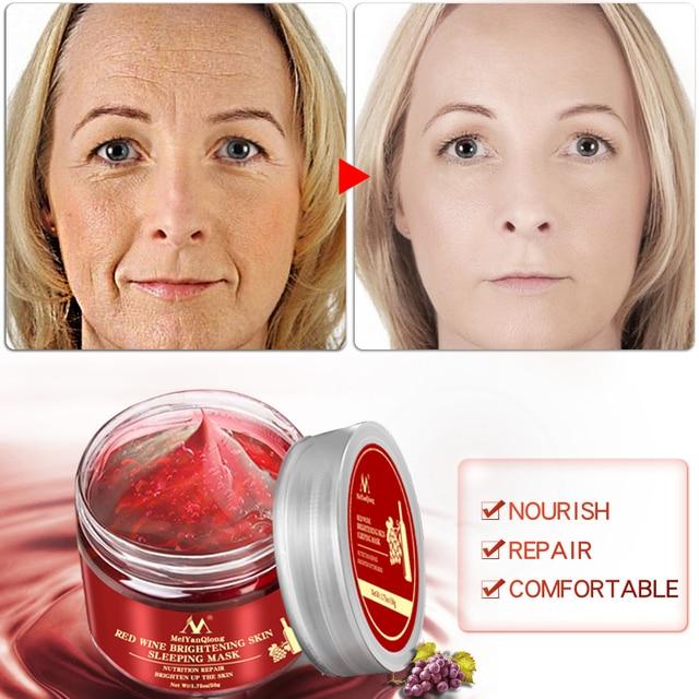 Red Wine Essence Sleeping Facial Mask Whitening Nourishing Mask Moisturizing Nutrition repair Brighten up the skin Gel Night 1