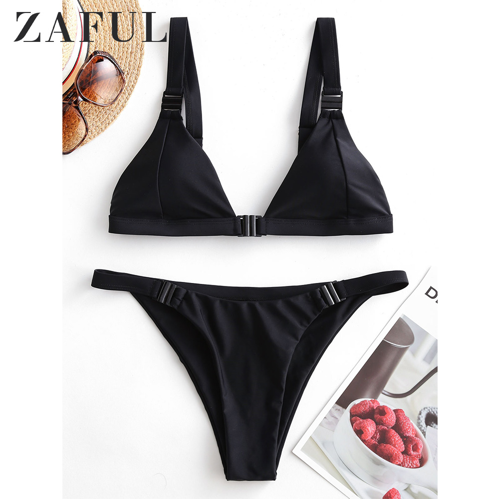 ZAFUL Neon Plunge Front Closure Bikini Swimsuit Summer Bikini Low Cut Bikini Low Waisted Bikini Beach Women Swimwear 2020 New