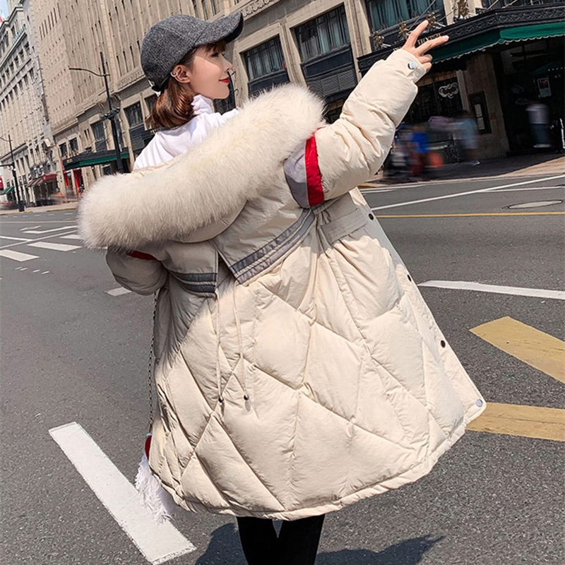 2019 Winter Fur Collar Cotton-padded Jacket Plus Size Down Cotton Jacket Women Winter   Parkas   Fashion Thicken Hooded Coat LM095