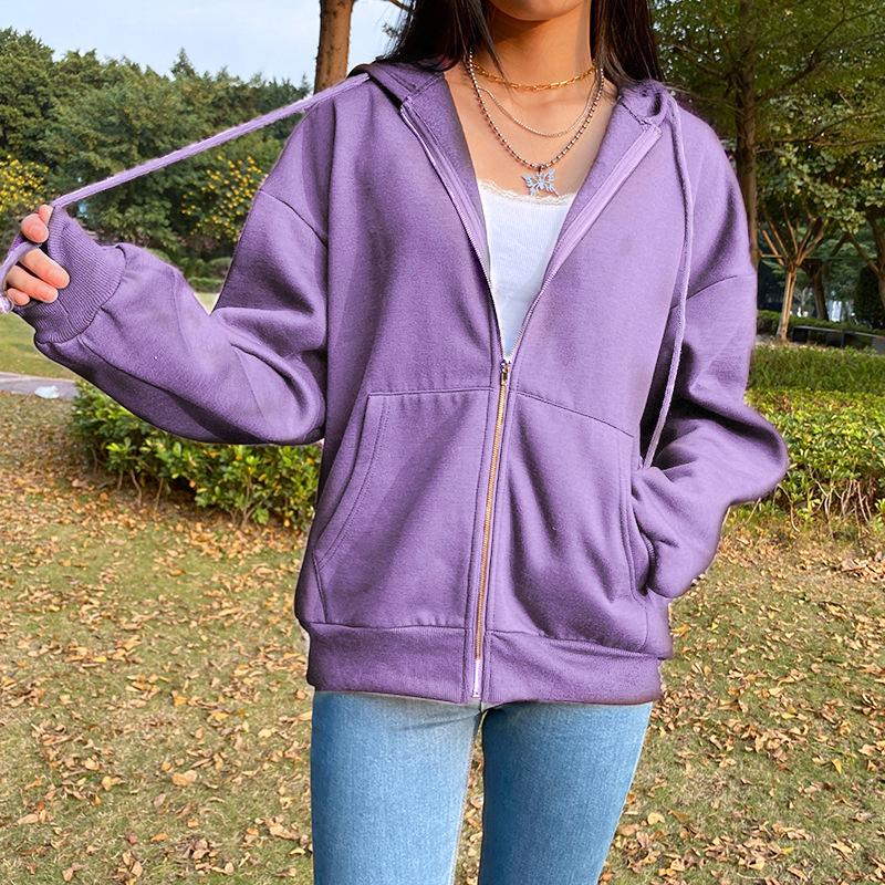 BiggOrange Brown Zip Up Sweatshirt Winter Jacket Clothes oversize Hoodies Women plus size Vintage Pockets Long Sleeve Pullovers