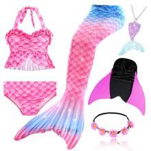 Girls Mermaid Tail Swimsuit with Monofin Bra Shorts Bikini Kids Mermaid Tail Swimmable Costume Cosplay Swimming Wear Flipper