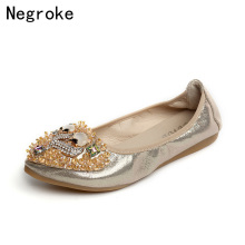 New women flats shoes women pu leather shoes woman Crystal loafers slip on ballet flats ballerines flats boat shoes piergitar new style woman velvet shoes with embroidered letter party dress shoes weddibng and banquet women loafers women flats