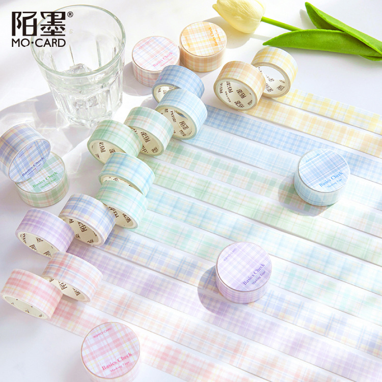 Aesthete Color Grid Masking Tape Translucent Decorative Stickers Scrapbooking Gentle And Beautiful Little Things Cute Stationery