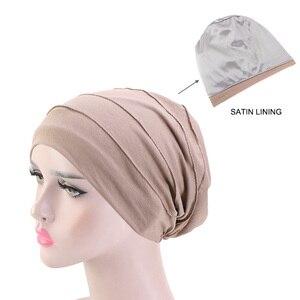 Image 1 - Kobiety miękka pościel satynowa indie kapelusz Stretch czapka do spania muzułmańskie nakrycie głowy z marszczeniami rak kapelusz po chemioterapii czapka szalik Turban chusta na głowę czapka Arab