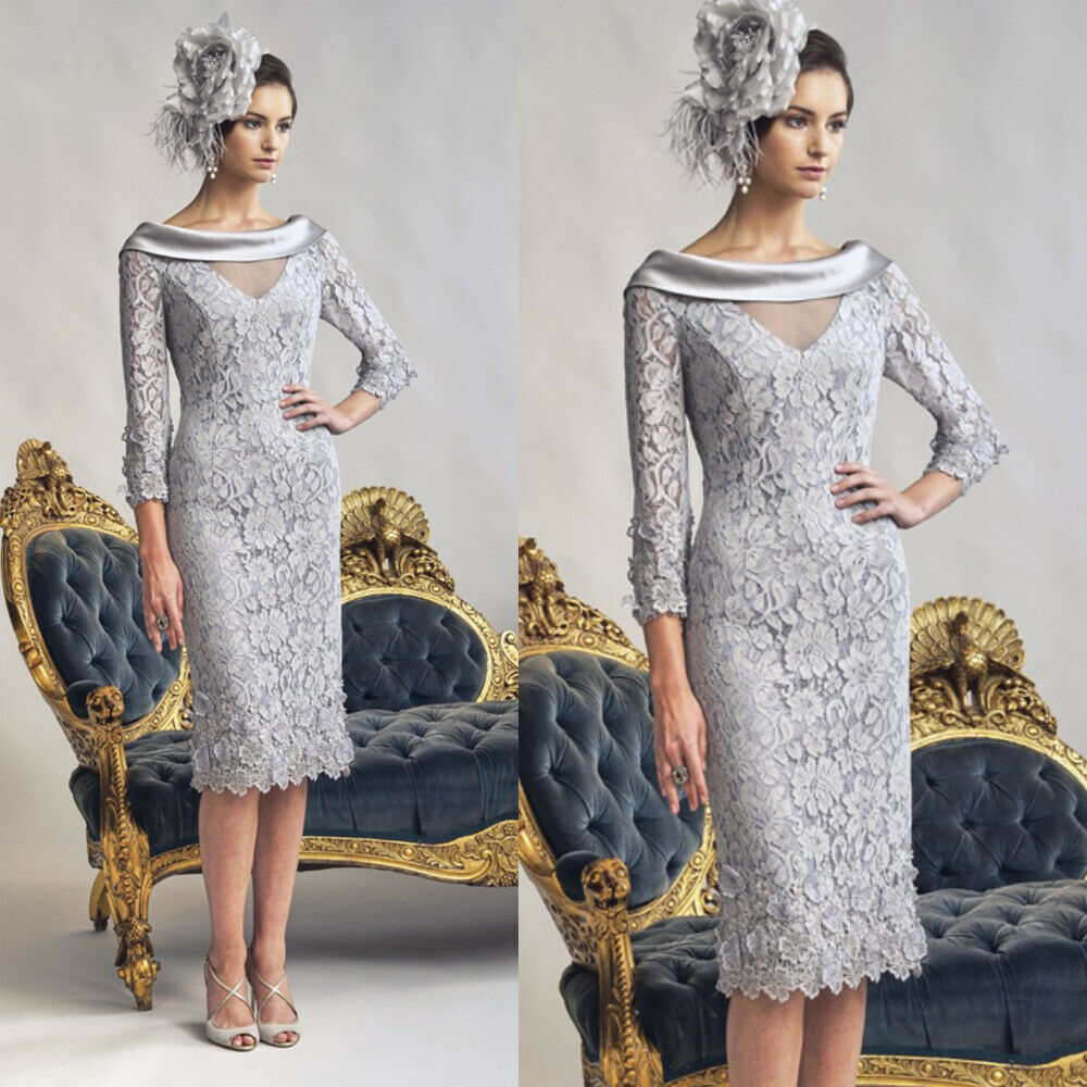Greamy Silver Lace Dinner Dresses3/4 Sleeves Sheath Backless Beading Knee-Length Short Mother Of The Bride 2019