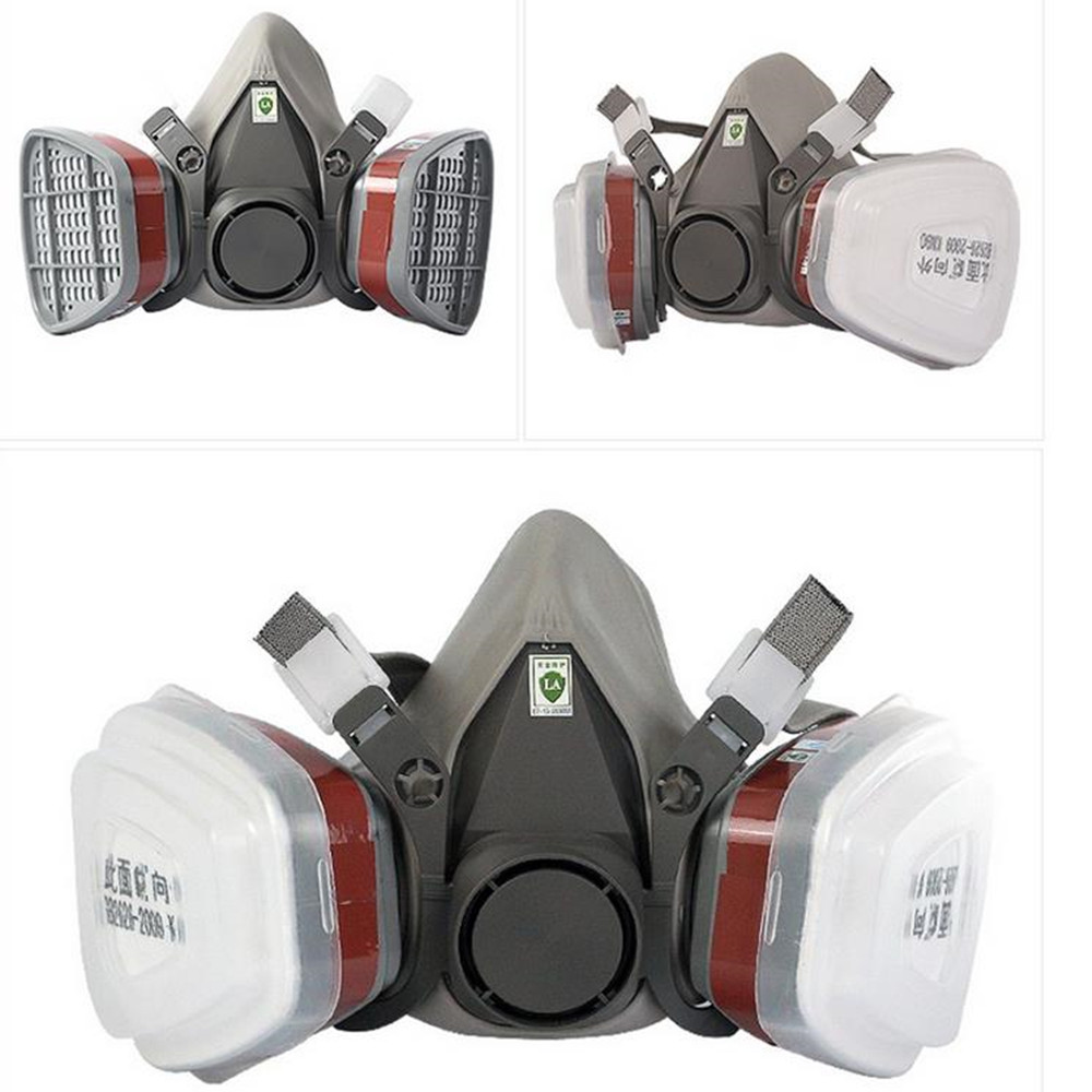 7 In1 6200 Type Industrial Half Face Painting Spraying Respirator Gas Mask Suit Safety Work Filter Dust Mask Replace