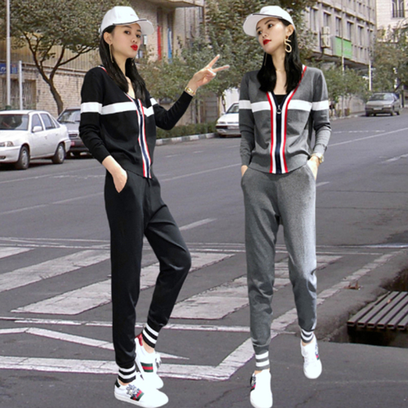 Make Fashion Suits Autumn New Women's Clothing In Europe And The Former Single Leisure Trousers Two-piece Jacquard Knitting Coat