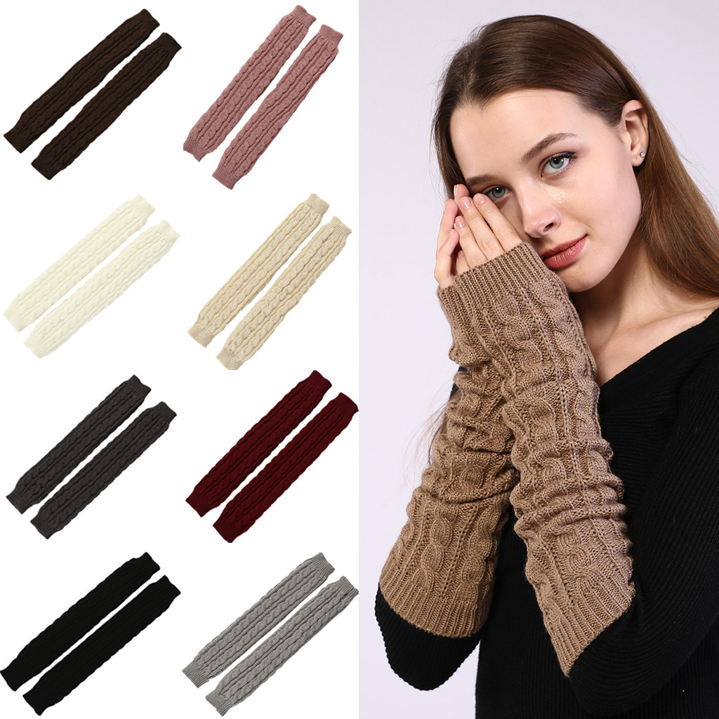 Fashion Women Winter Long Hollow Out Twist Knitted Keep Warm Fingerless Gloves Gloves  перчатки Gloves  перчатки Winter Gloves
