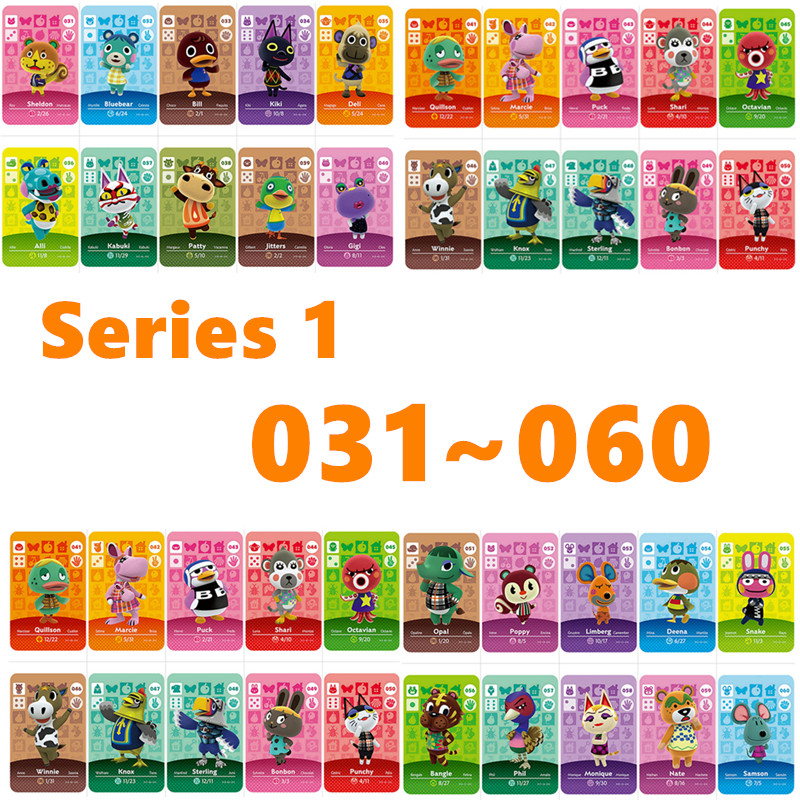 Series 1 (031 To 060) Animal Crossing Amiibo Card For NS Games Locks   Nfc Card Work Animal Crossing Free To Choose