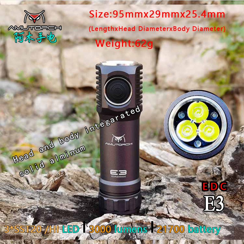 Amutorch E3 3x XPL-HI/SST20 LED 3000LM Dual Mode Stepless Dimming Powerful 21700 EDC Flashlight Mini Torch,Solid And Compact