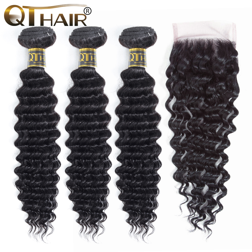 QT Hair Deep Wave Bundles With Closure Brazilian Hair Weave 3 Bundles With Closure Remy Human Hair Extensions