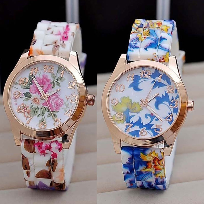 Hot Sale New Silicon Strap Watch Beautiful Flower Porcelain Design Wristwatch Women Students Girls