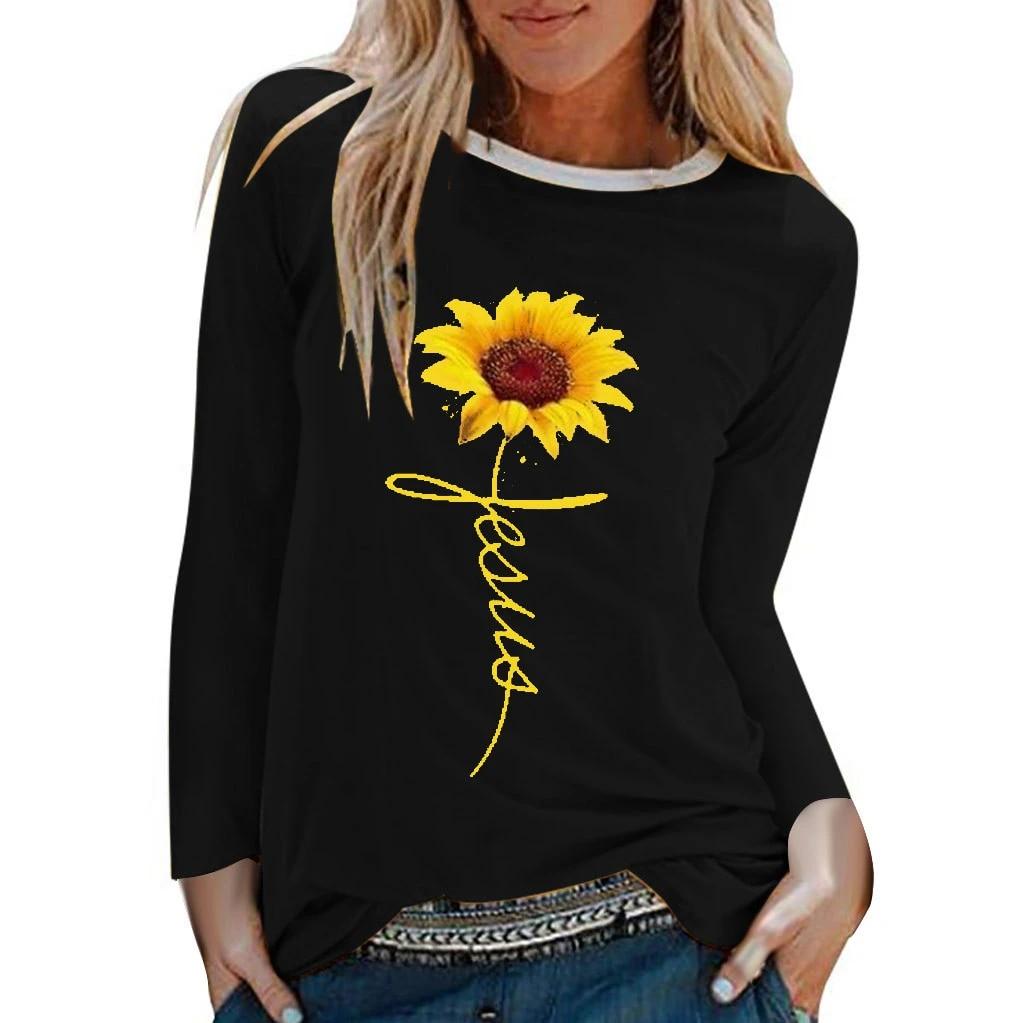 Womens Casual Sunflower Print Shirts O-Neck Long Sleeve Top Loose T-Shirt Blouse
