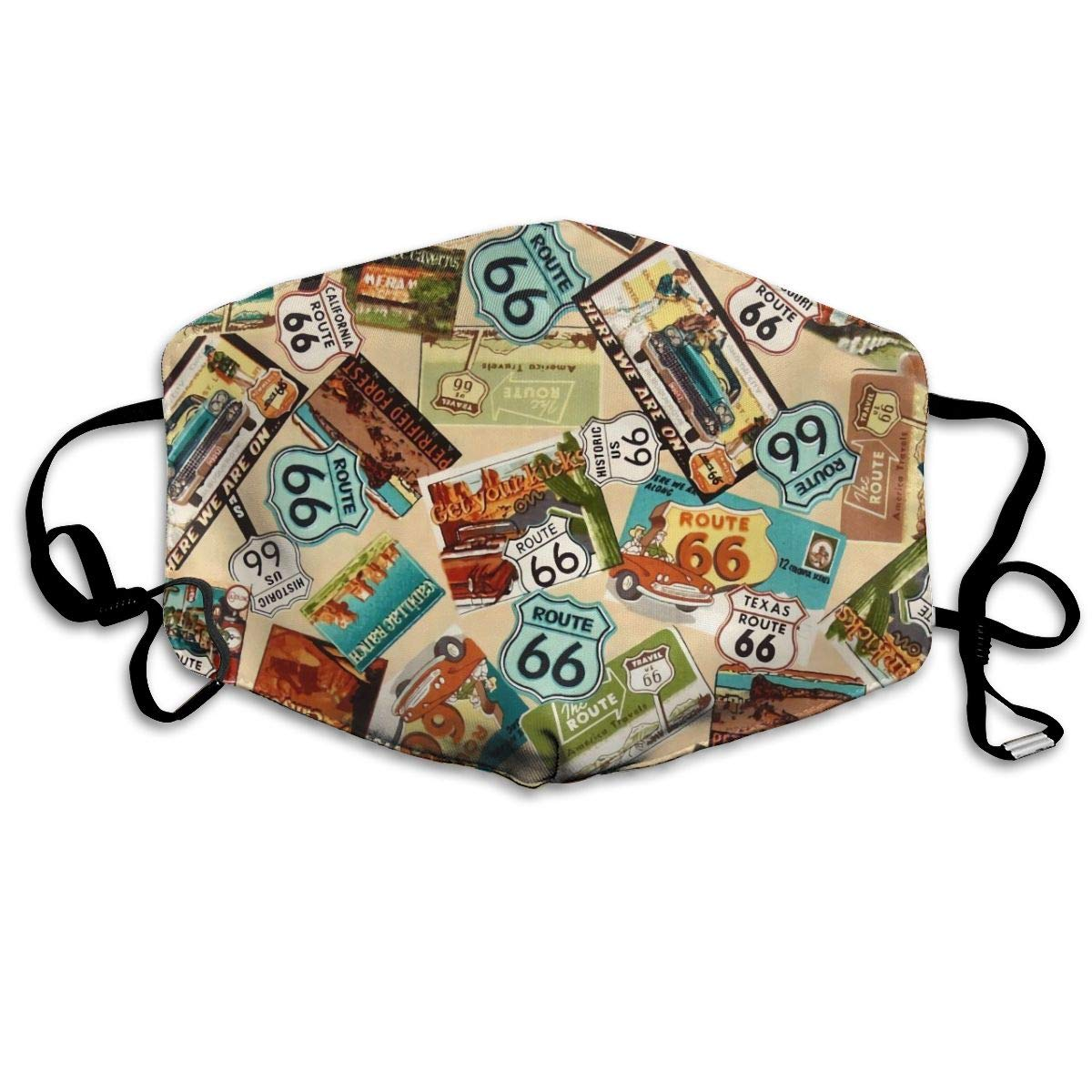 NiYoung Unisex Breathable American Map California Route 66 Vintage Mouth Mask, Adjustable Earloop   Anti Dust Pollution Face