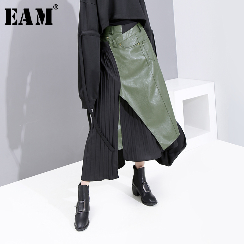 [EAM] High Elastic Waist Green Asymmetrical Pleated Temperament Half-body Skirt Women Fashion Tide New Spring Autumn 2020 1K731