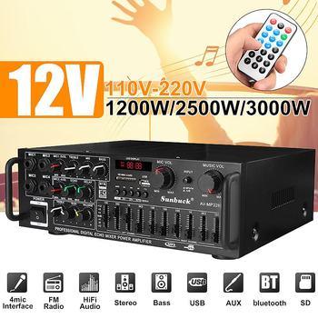 CLAITE bluetooth 2.0 Channel 2000W Audio Power HiFi Amplifier 326BT 12V/220V AV Amp Speaker with Remote Control for Car Home