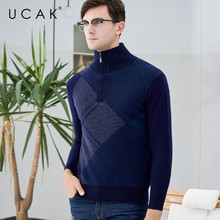 UCAK Brand Pure Merino Wool Sweater 2019 New Arrival Casual Zipper Warm Winter Streetwear Pull Homme Pullover Sweaters U3125