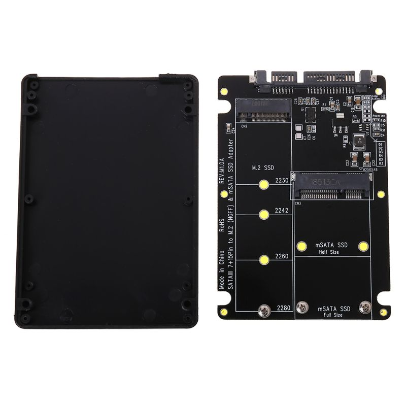 2 In 1 NGFF M 2 B M Key Mini PCI-E or mSATA SSD to SATA III Adapter Card for Full Msata SSD  2230 2242 2260 22x80 M2