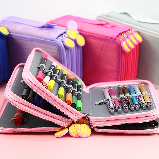 5 Level Color Nylon Waterproof Pencil Case Five Layer Large Capacity Pencil Box Cute Pencilcase Kids School Stationery